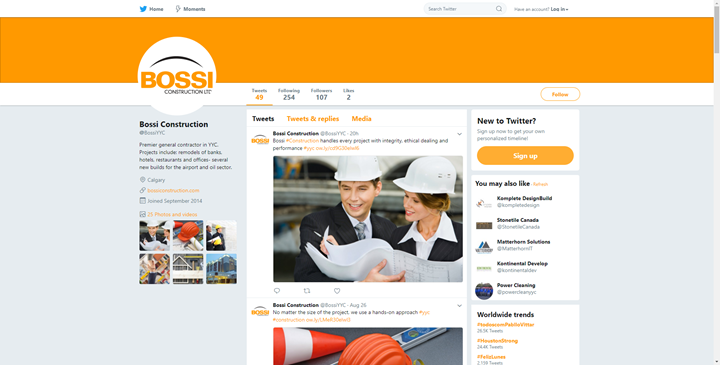 calgary social media marketing twitter bossi construction