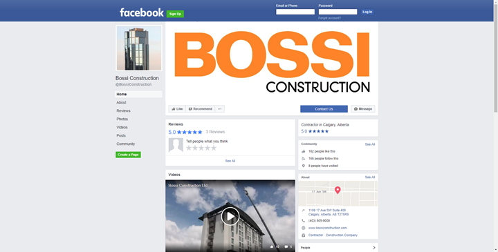 calgary social media services facebook bossi construction