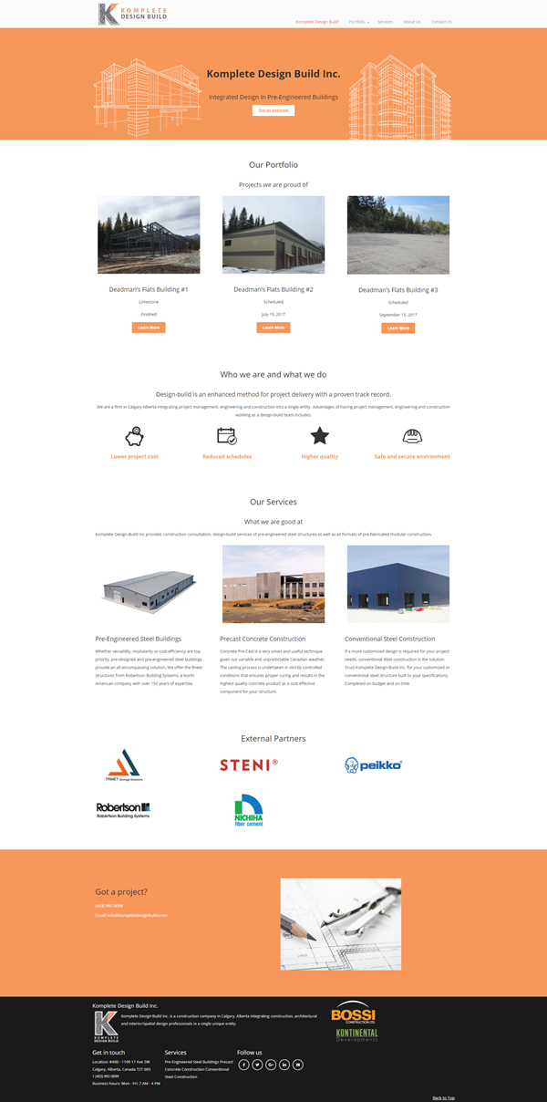 calgary web developer company komplete design build