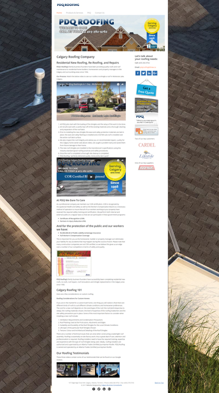 calgary website developer pdq roofing