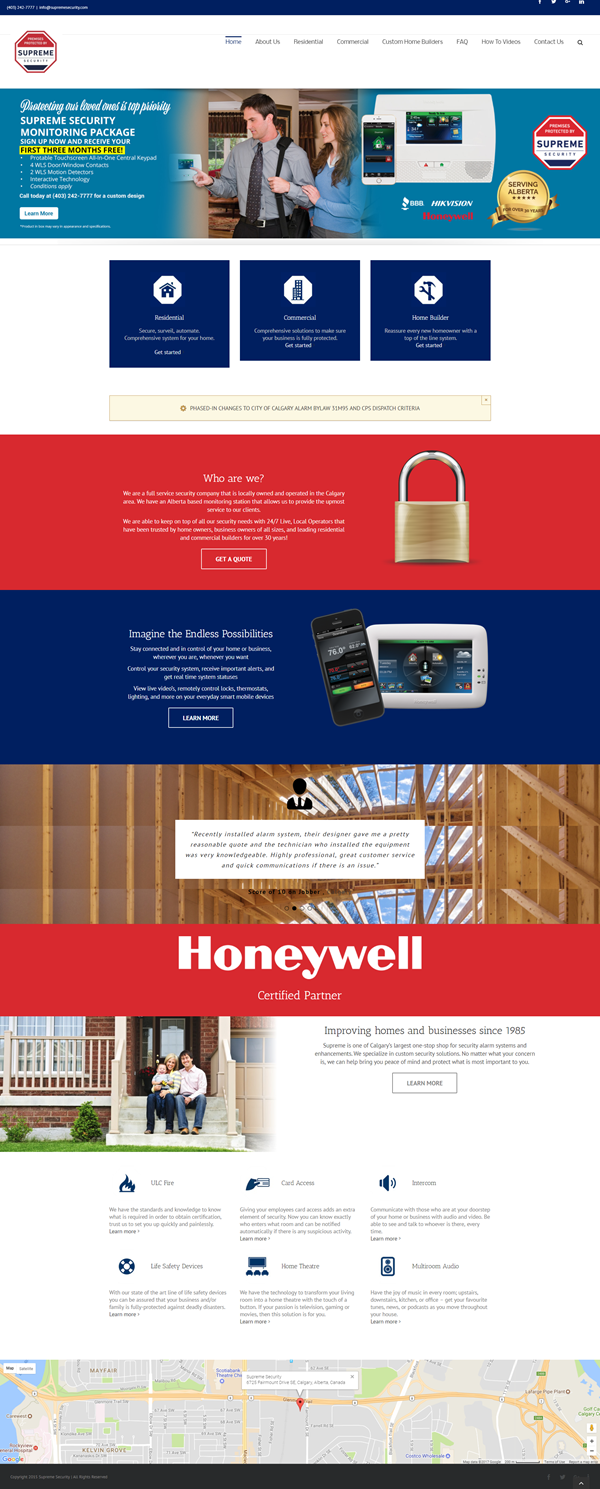 website designer calgary supreme security