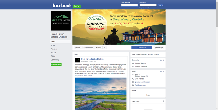 calgary social media marketing services facebook okotoks green haven