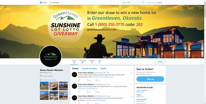 calgary social media marketing services twitter okotoks green haven