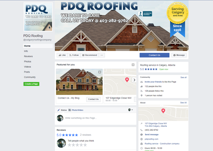 calgary social media services facebook pdqroofing
