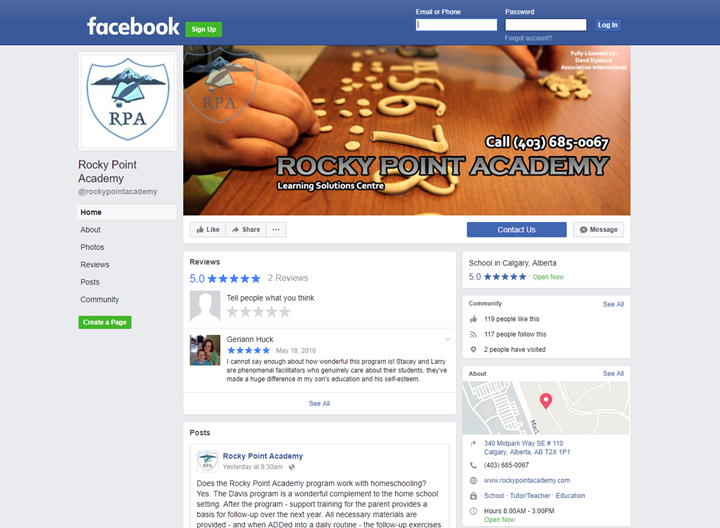 calgary social media services facebook rocky point academy