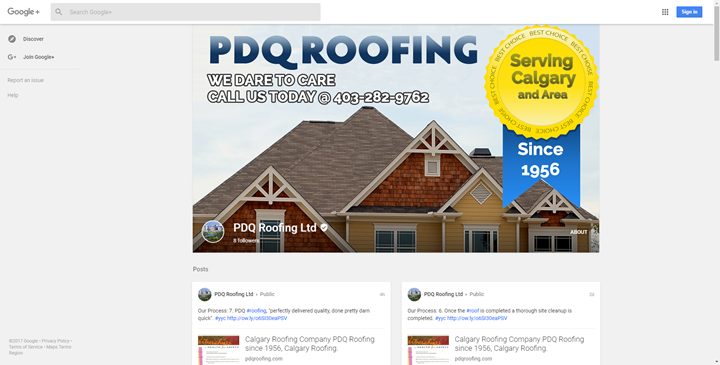 calgary social media services google plus pdqroofing