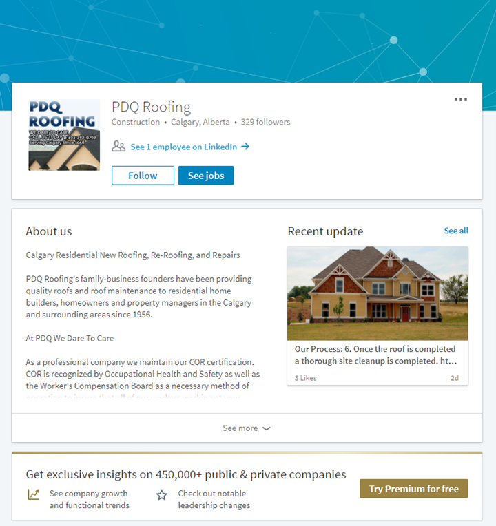calgary social media services linkedin pdqroofing