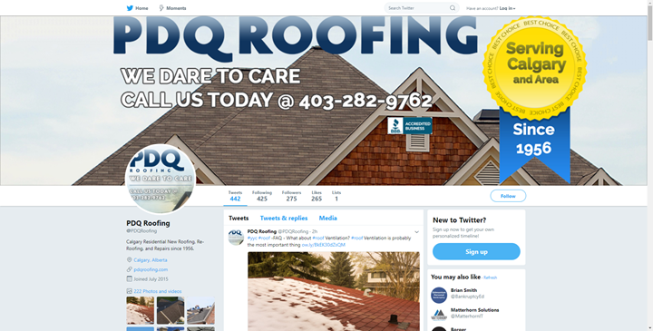calgary social media services twitter pdqroofing