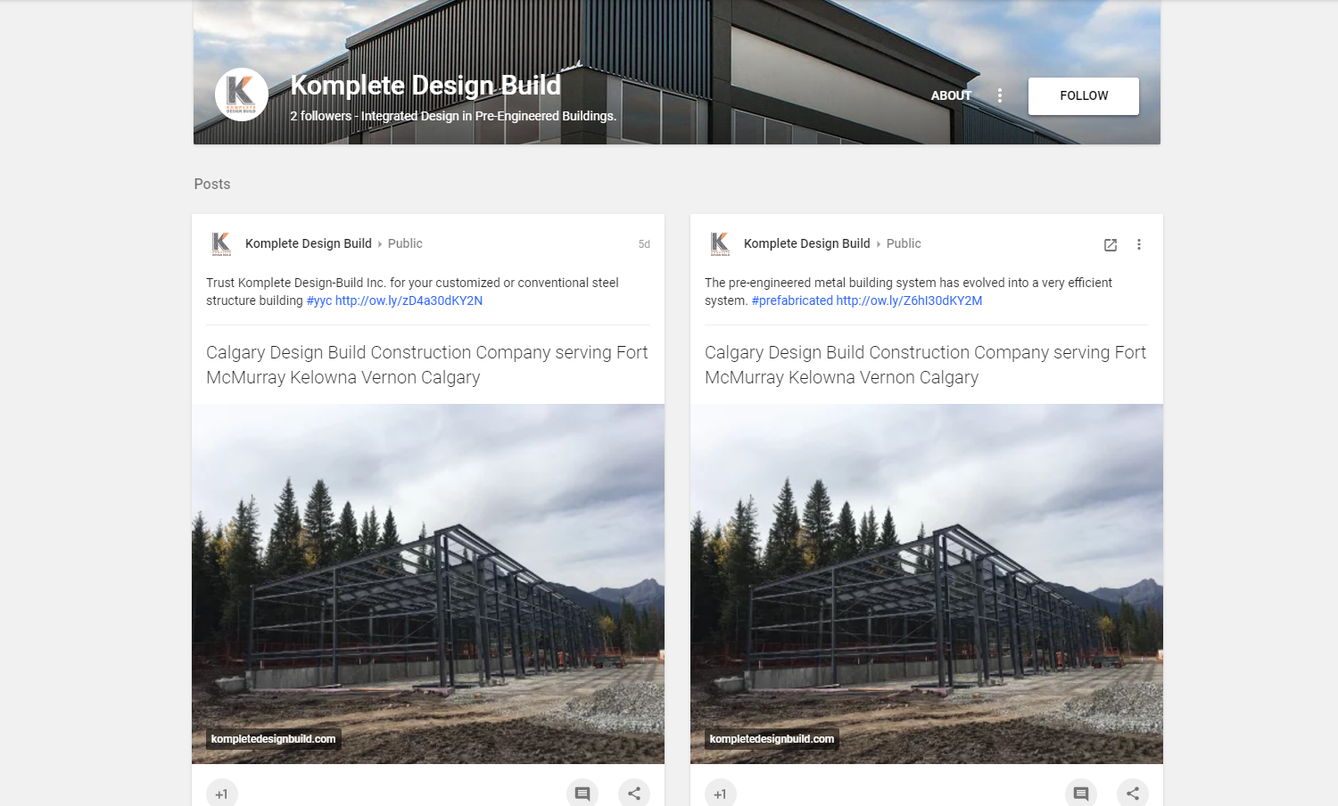 social media marketing services calgary google plus komplete design build