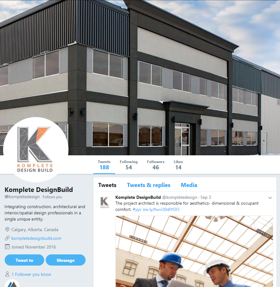 social media marketing services calgary twitter komplete design build