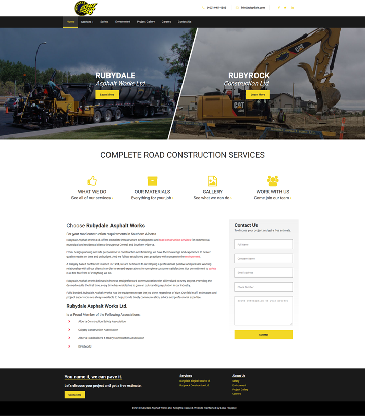 website design calgary client rubydale